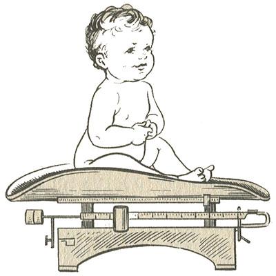 Взвешивание ребенка первого и второго года жизни