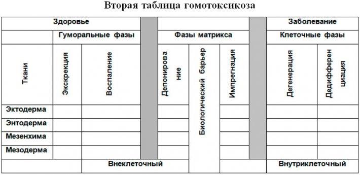 Вторая таблица гомотоксикоза