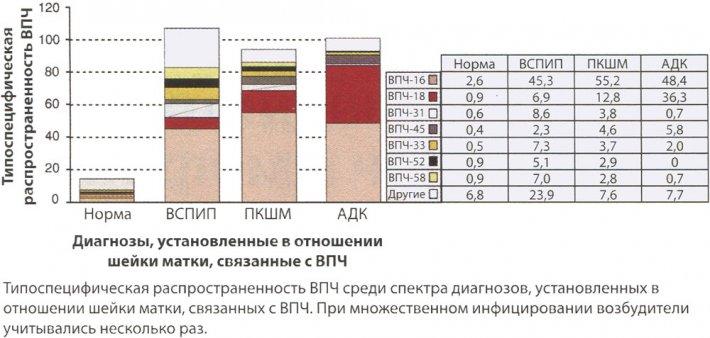Типоспецифическая распространенность ВПЧ в норме при CIN тяжелой степени и инвазивной карциноме шейки матки