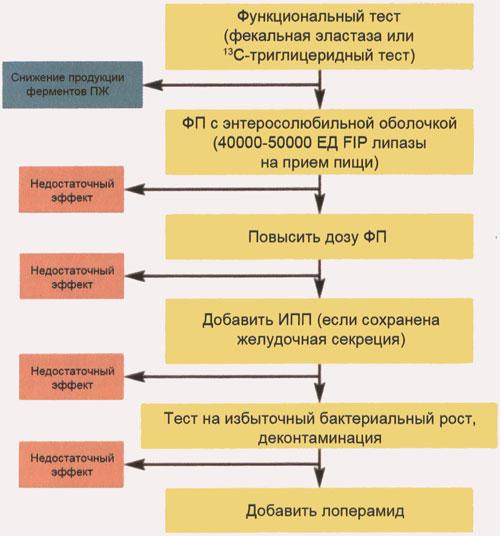 Терапевтический алгоритм лечения мальдигестии у больных после операции на поджелудочной железе, желудке, тонкой кишке (по J.E. Dominguez-Munoz, 2005)