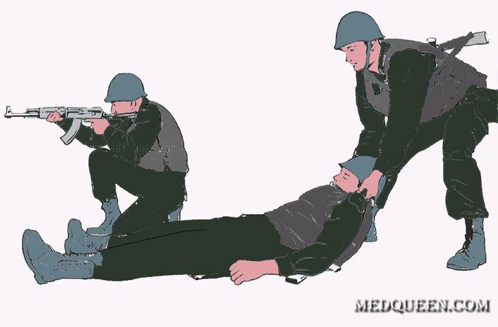 Транспортировка раненного в положении стоя
