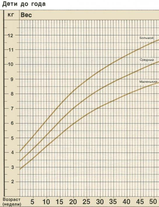 Показатели физического развития ребенка до 1 года