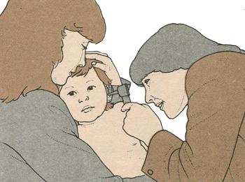 Осмотр ушей у ребенка