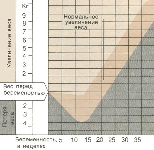 Диаграмма прибавки и потери массы тела у беременных