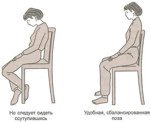 Сбалансированная поза в положении сидя