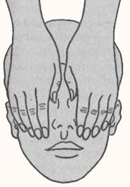 Основное положение рук мастера на голове пациента